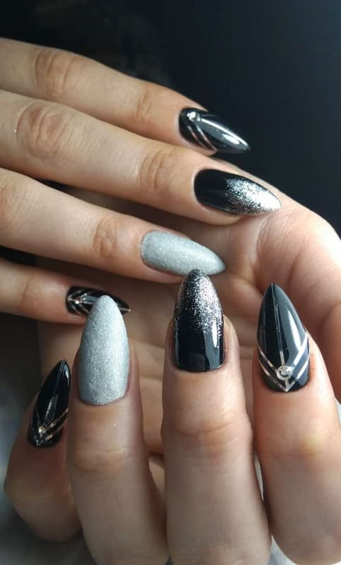Black and silver almond nails