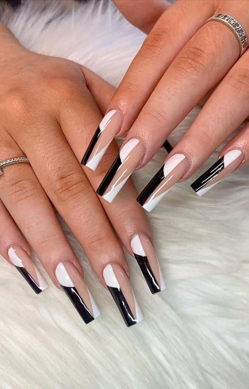 Black and white acrylic nails