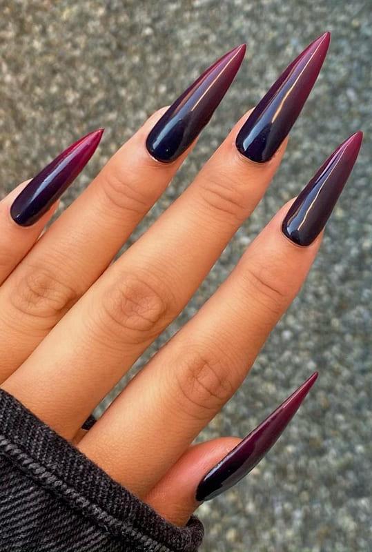 Black ombre stiletto nails
