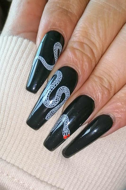 Black white coffin nails