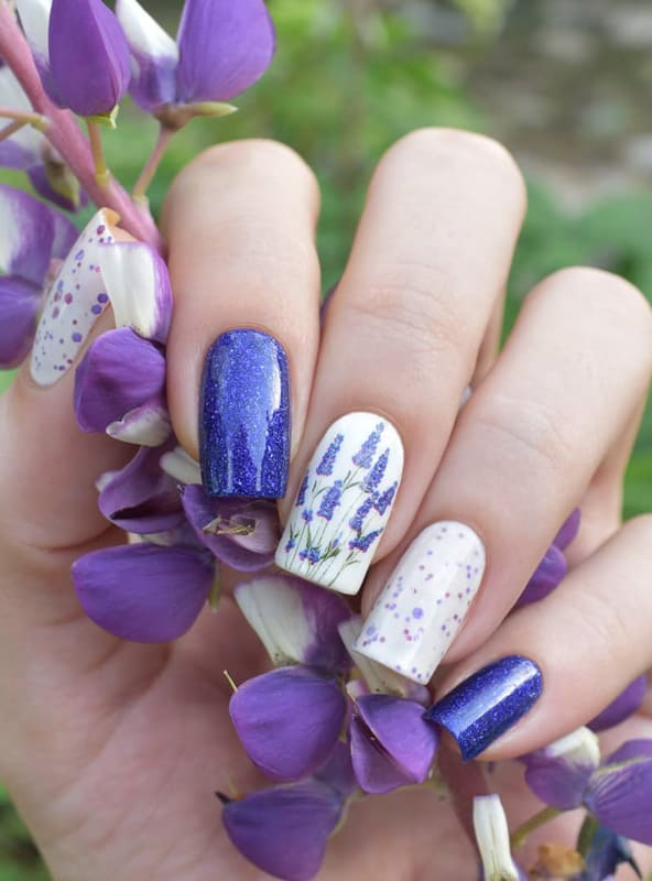 Blue and lavender nails