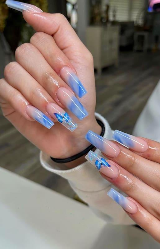 Blue marble acrylic nails