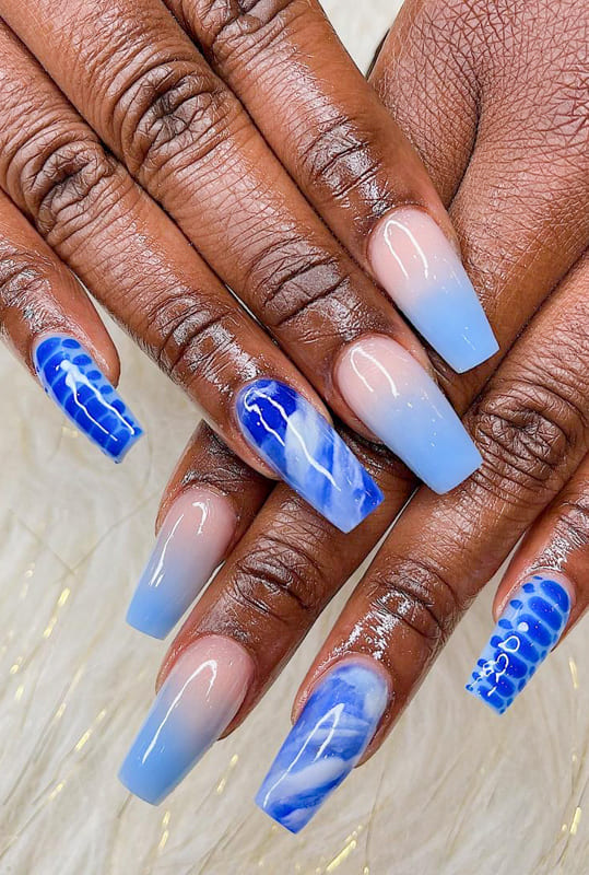 Blue marble coffin nails