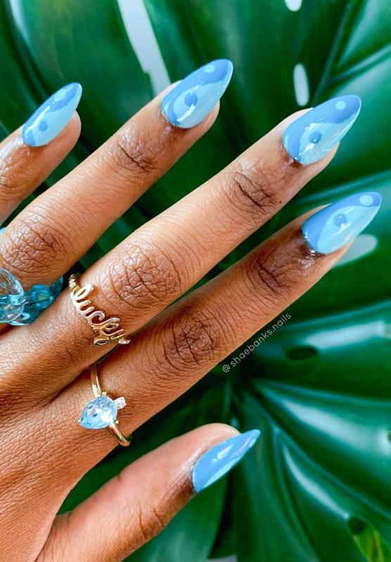 Blue short almond nails