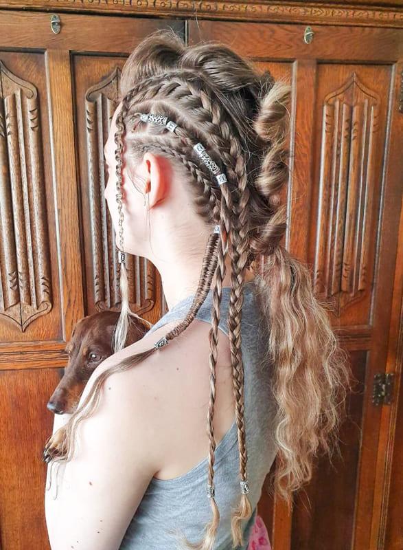 Bubble and thin viking braids