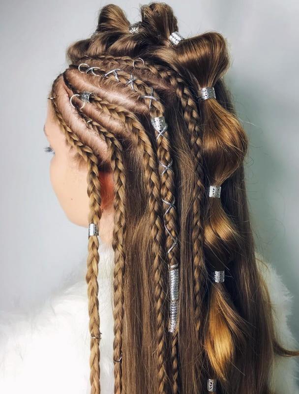Bubble viking braids hair