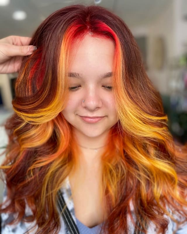 Burgundy red and yellow hair