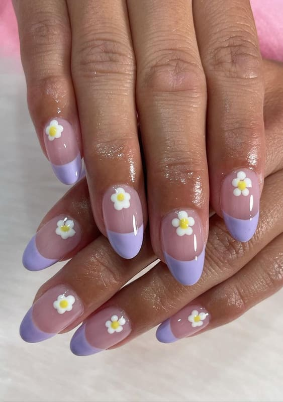 Daisy french lavender nails