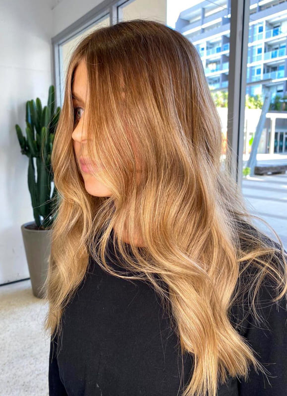 Caramel and blonde ombre hair
