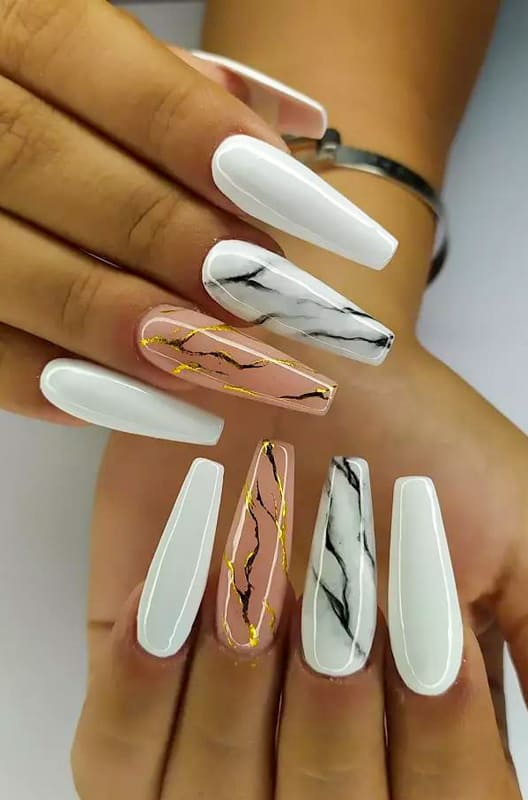 Coffin gold marble nails