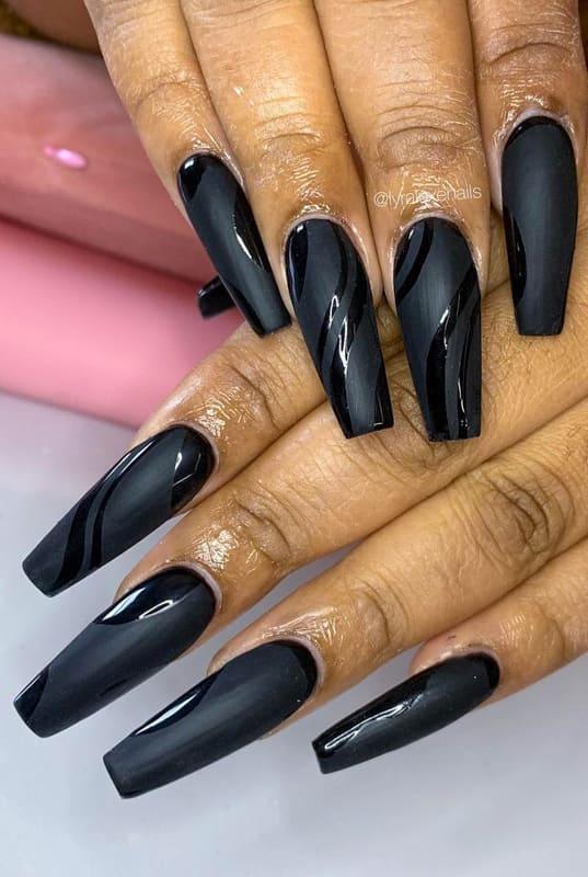 Coffin matte black nails