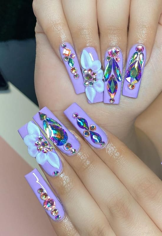 Crystal and lavender nails