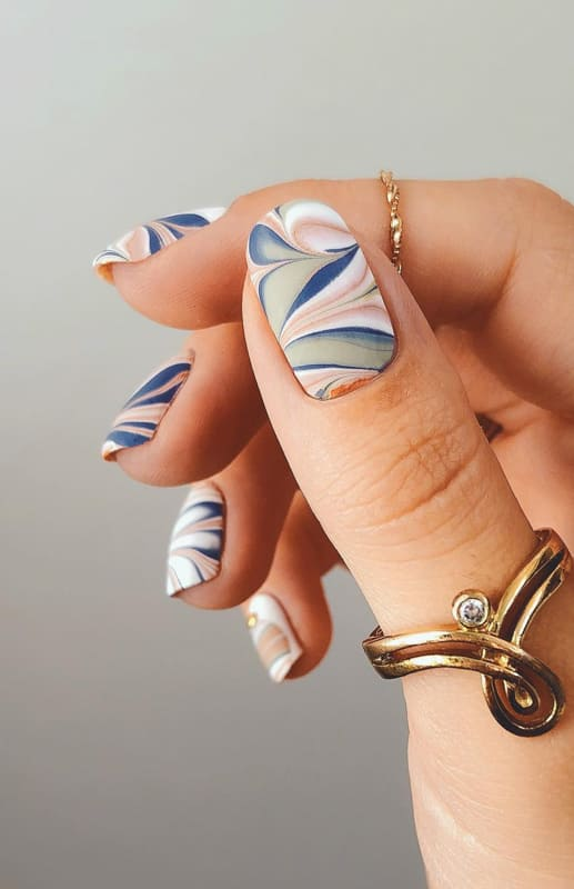 Cute water marble nails