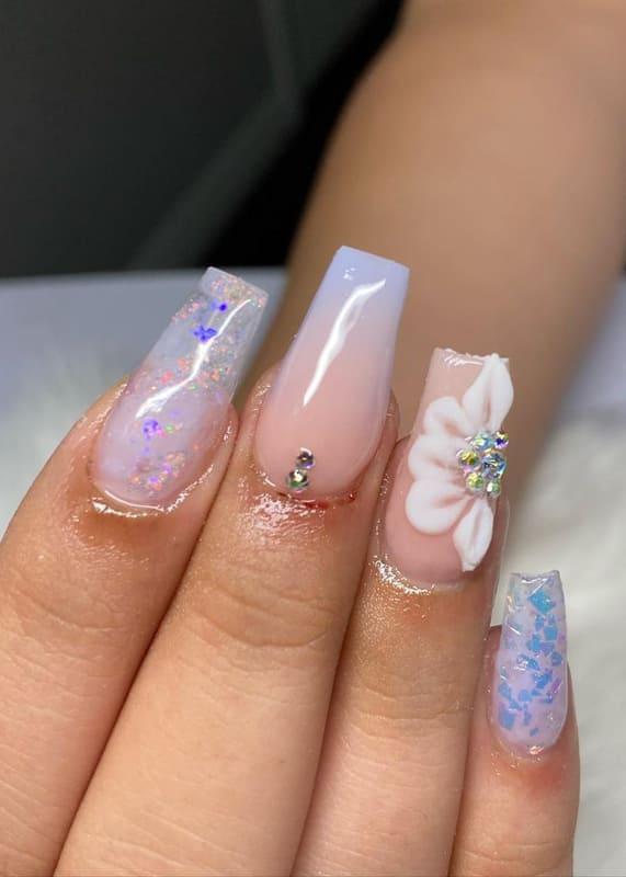 Flower ombre lavender nails
