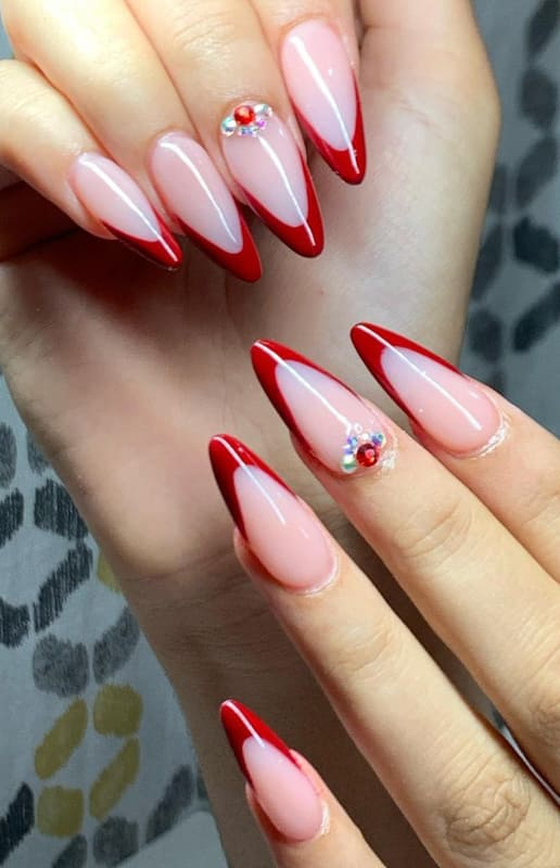 French red almond nails