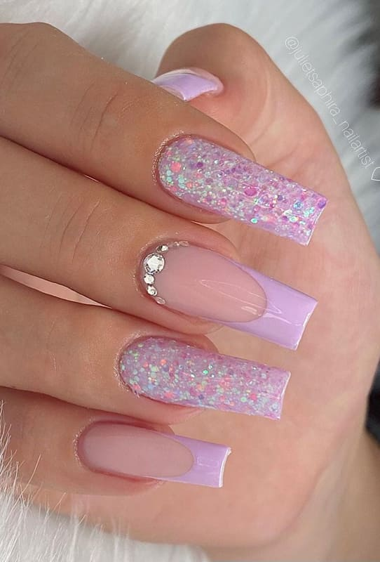 Glitter and crystal lavender nails