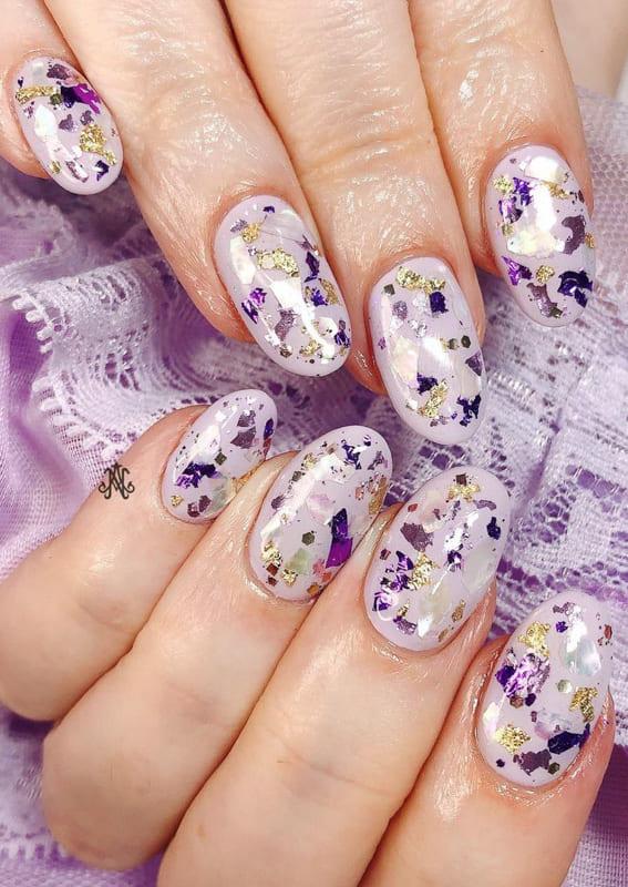 Glitter short lavender nails