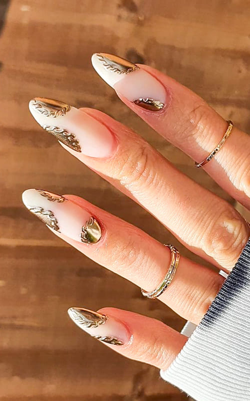 Gold almond chrome nails