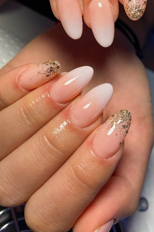 Gold french almond nails