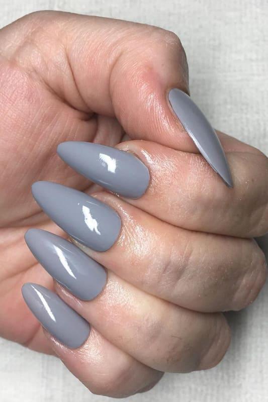 Grey almond nails