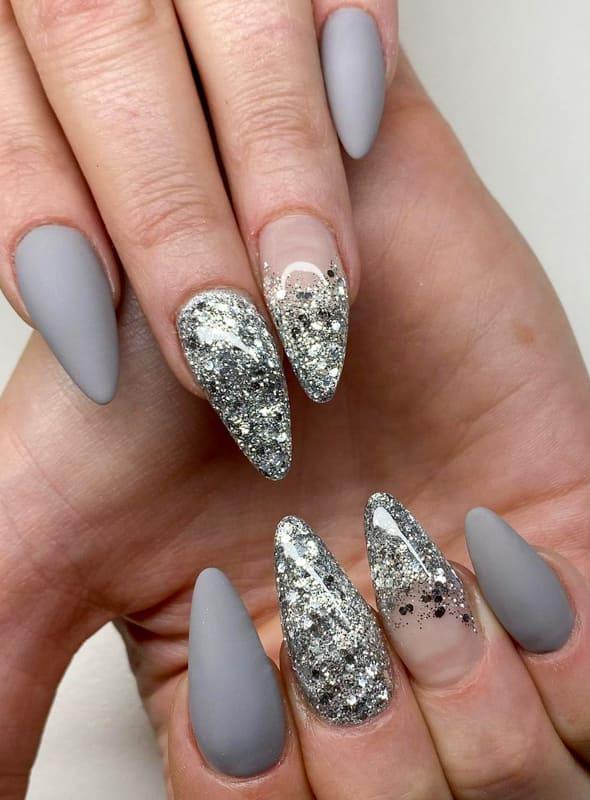 Grey glitter almond nails