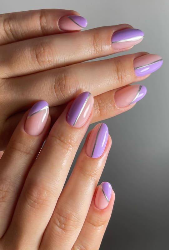 Half nude half lavender nails