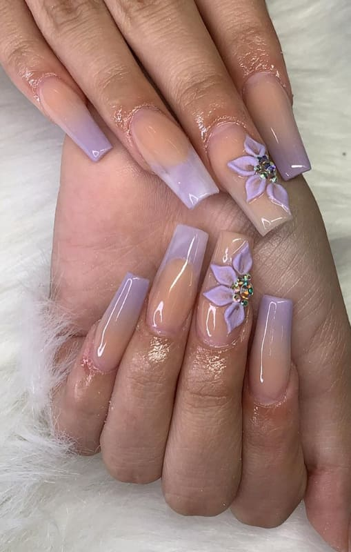 Lavender ombre nails with flowers