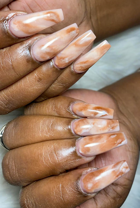 Long Coffin nude marble nails
