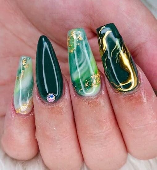 Long acrylic marble nails