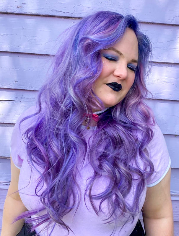 Long curly lavender purple hair