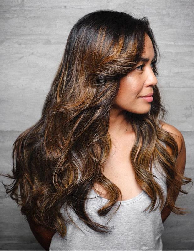Long dark caramel hair color