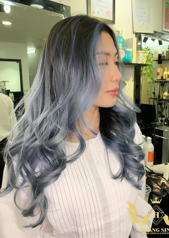 Long dark roots silver hair