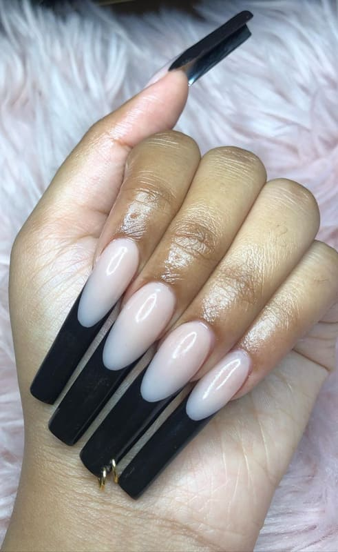 Long french black nails