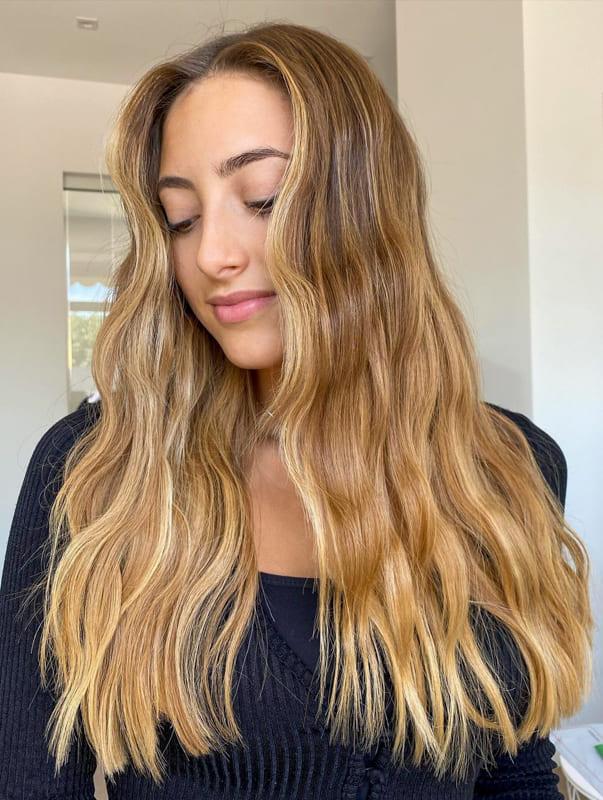 Long light caramel hair