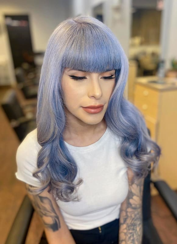 Long lilac silver hair with bangs