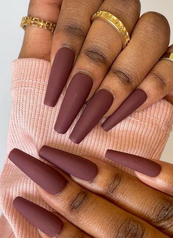 Long matte burgundy nails