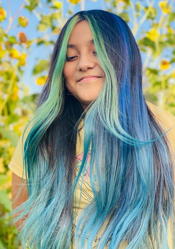 Long mermaid teal hair