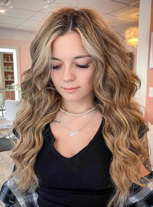 Long messy caramel hair