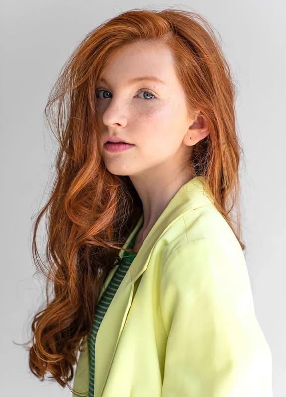 Long natural orange hair