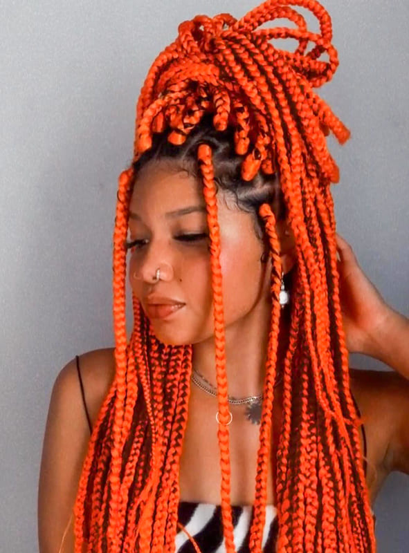 Long orange braiding hair for African American women