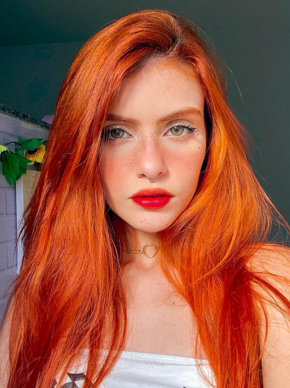 Long orange red hair