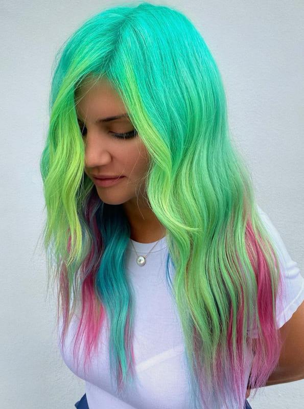 Long pastel teal hair