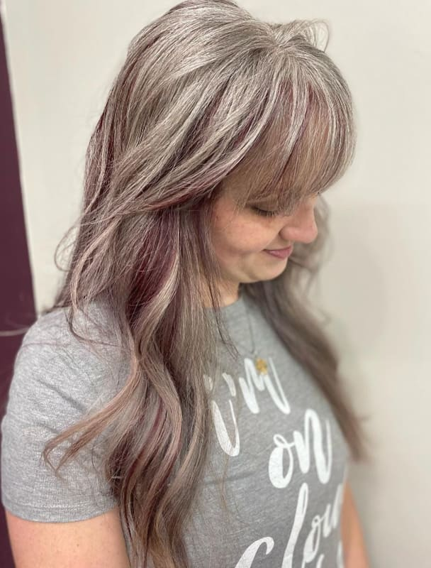 Long silver and red hair