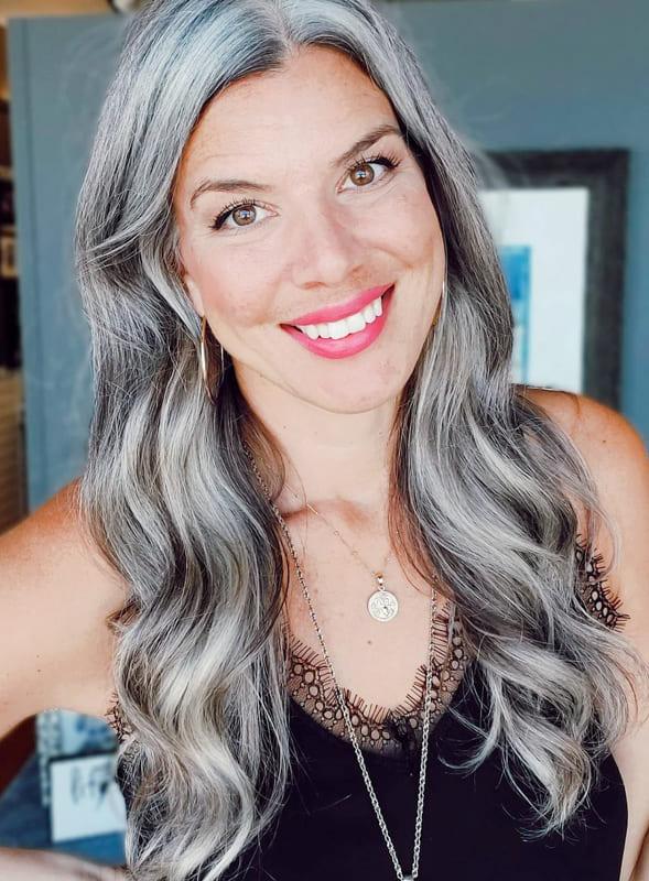 Long silver balayage hair