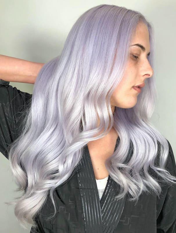 Long silver lavender hair