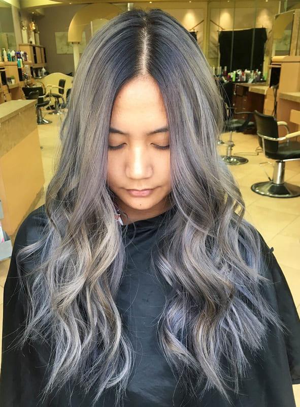 Long wavy ash silver hair