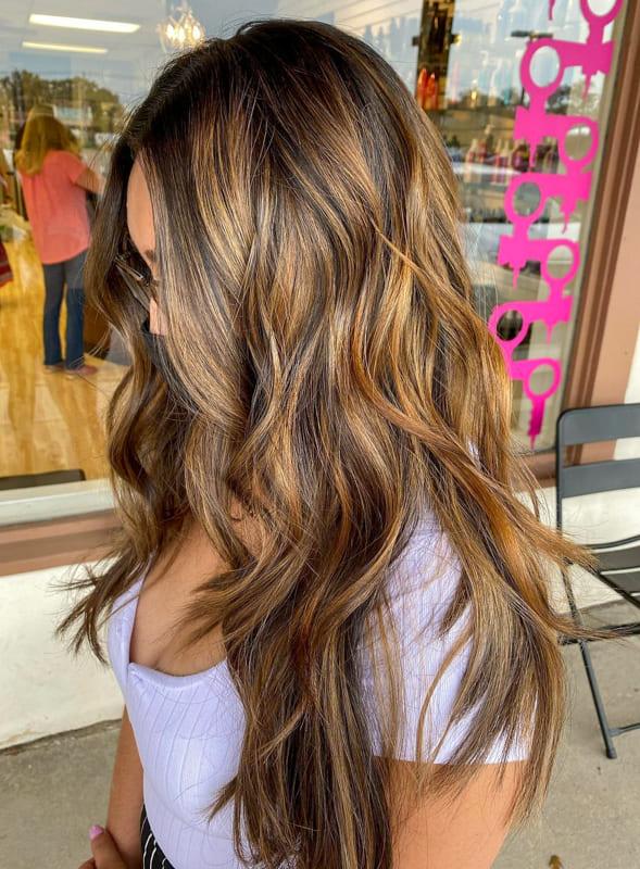Long wavy caramel hair