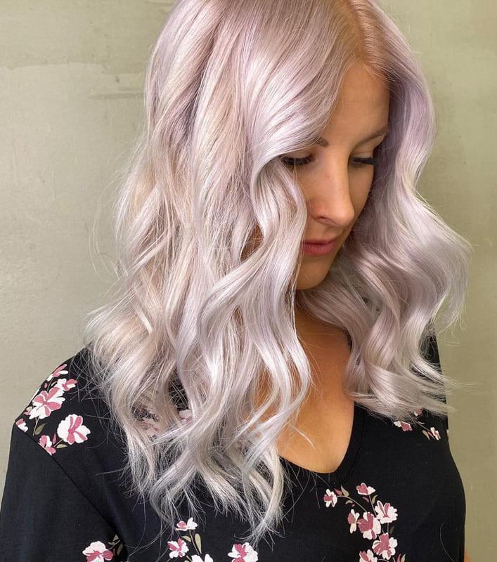 Long wavy silver pink hair