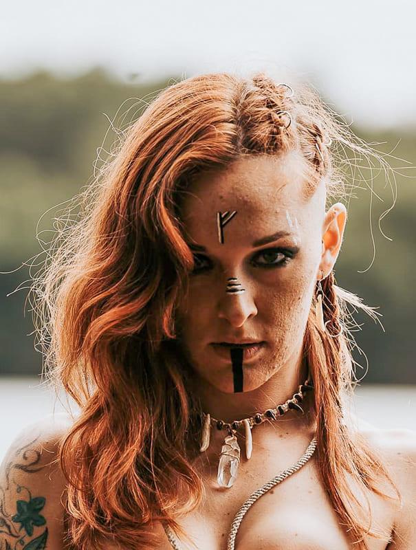 Medium red side viking braids