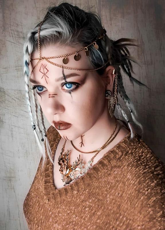 Medium side viking braids